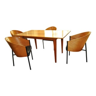 Cherry Dining Table & Cherry & Leather Chairs - Set of 5