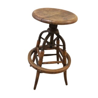 Vintage Industrial Wood Stool