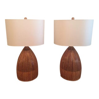 1960's Rattan Table Lamps- A Pair