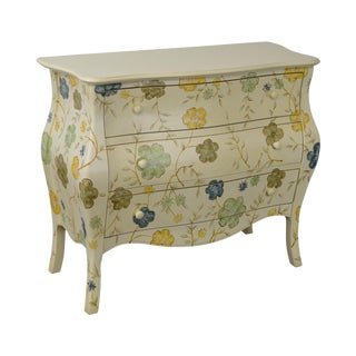 Custom Hand Paint Decorated Bombe Commode Chest of Drawers