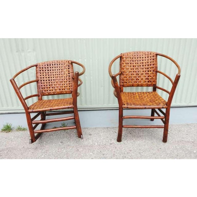 Pair of Signed Old Hickory Barrel Back Rocker and Side Chair - Image 5 of 9