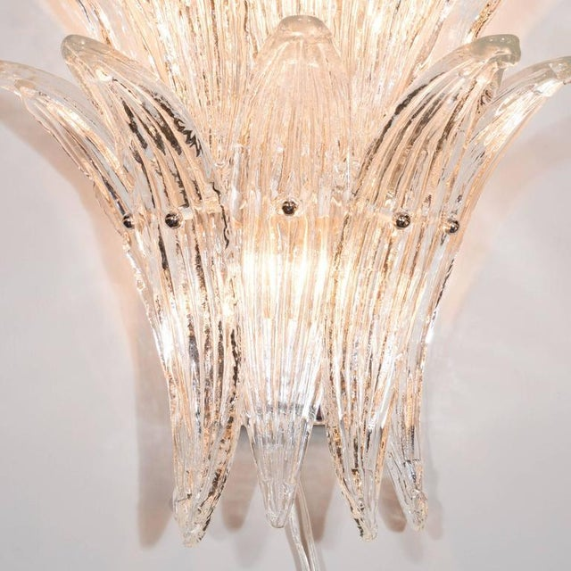 Gorgeous Pair of Mid-Century Two-Tier Palma Sconces in Clear Murano Glass - Image 5 of 6