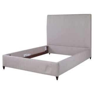 Kravet Windworth Tan Upholstered Queen Bed Frame