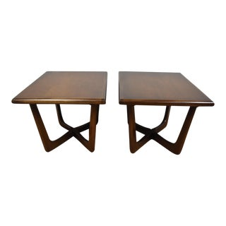 Mid-Century X Base End Tables - A Pair