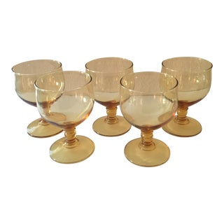 Vintage Amber Goblets Wine Glasses - Set of 5