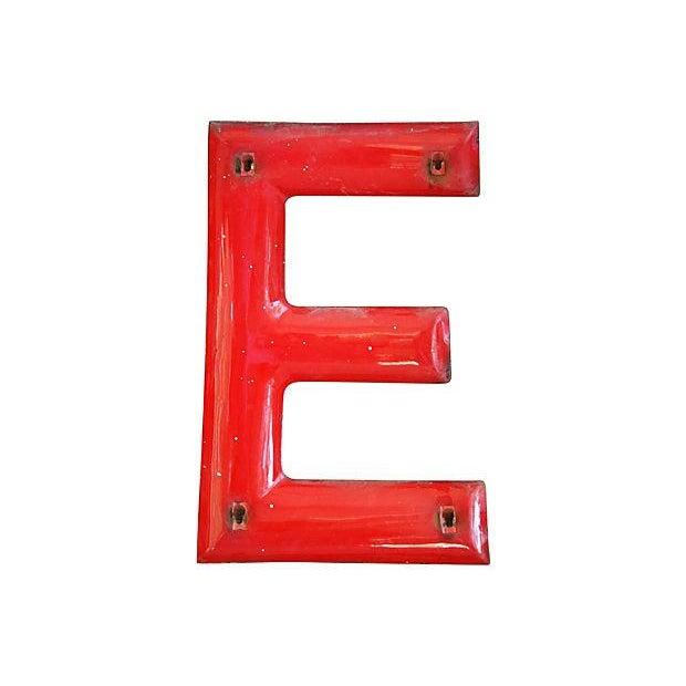 """18"""" Large 1950s Red Enameled Porcelain Letter E - Image 4 of 4"""