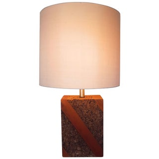 Mid-Century Modern Cork and Wood Lamp