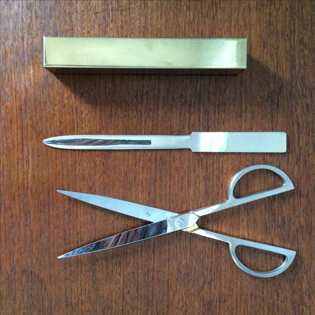 Vintage Brass Scissors and Letter Opener Set - Image 4 of 9