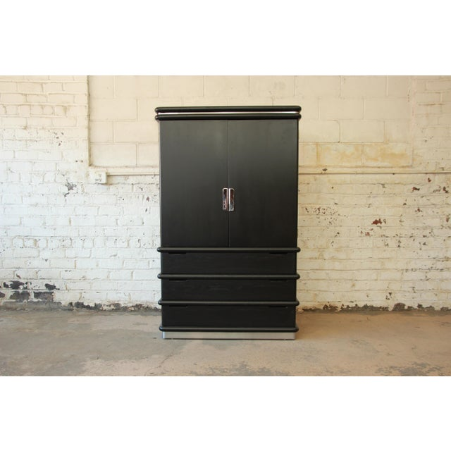 Jay Spectre for Century Cerused Oak & Chrome Armoire - Image 3 of 11