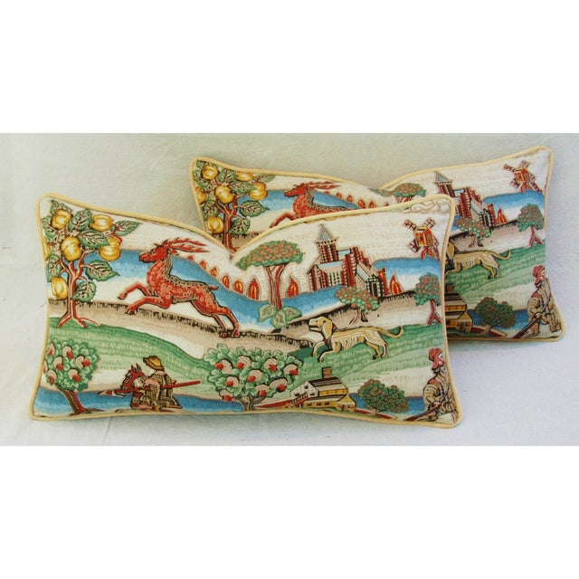 Designer Brunschwig & Fils Medieval Pillows - Pair - Image 2 of 8
