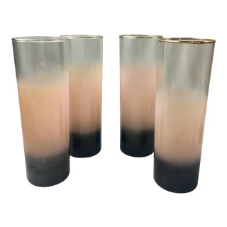 Mid-Century Pink Frosted Ombre Glasses- Set of 4