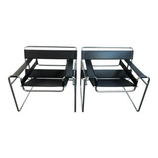 Wassily Style Bauhaus Black Leather and Chrome Chairs - A Pair