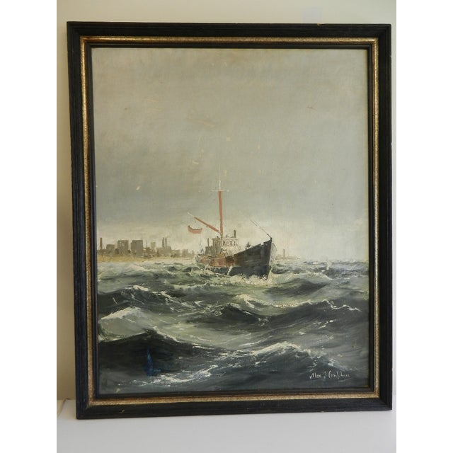Framed Oil Seascape Painting - Image 2 of 7