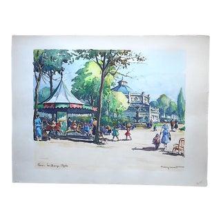 Original Vintage Signed Paris Watercolor, Champs Elysees