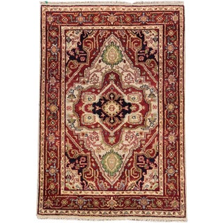 "Serapi Geometric Red & Tan Rug- 4'1"" x 6'"