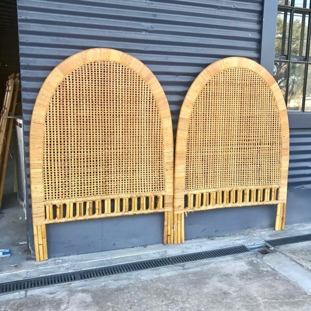 Vintage Rattan Caning Twin Headboards - A Pair - Image 2 of 10