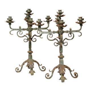 18th Century French Iron Candelabras - A Pair