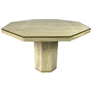 Travertine Marble Octagonal Center or Dining Table