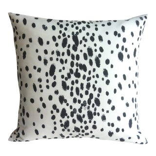 Les Touches Style Linen Charcoal Dotted Pillow/Cushion Cover