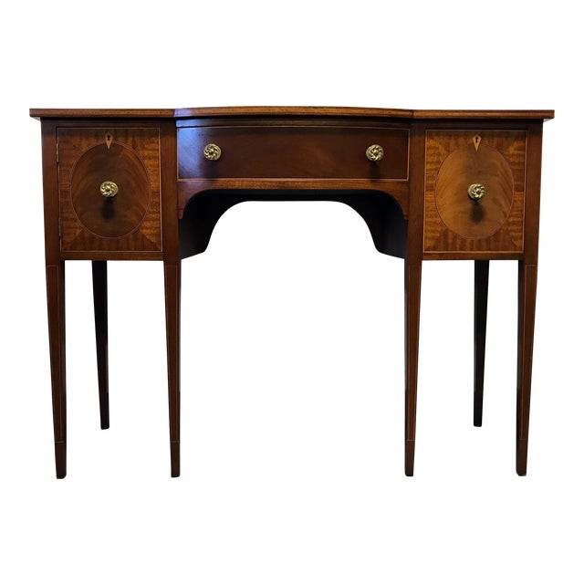 Image of Late 19th Century Inlaid Mahogany Walnut Satinwood Bow Front Sideboard / Console
