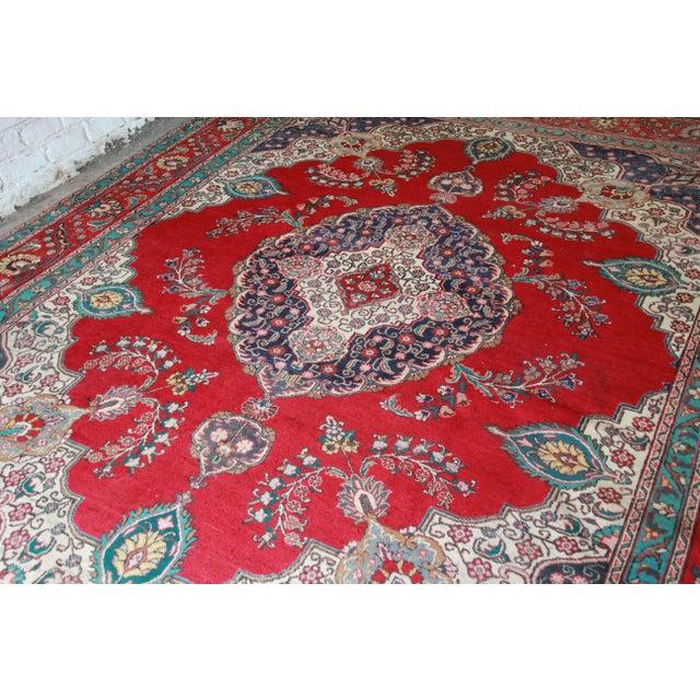 Vintage Hand-Woven Persian Tabriz Rug - 9′10″ × 12′5″ - Image 4 of 8