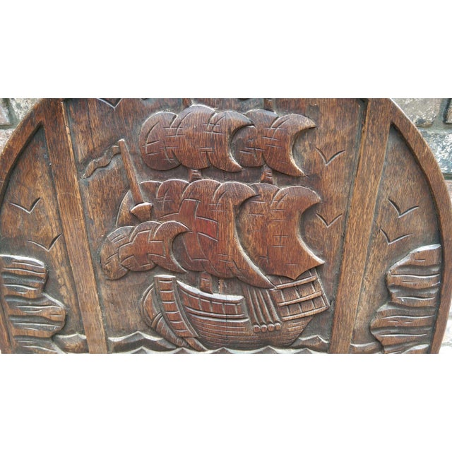 Antique Solid Wood Carved Nautical Ship Fire Screen - Image 4 of 9