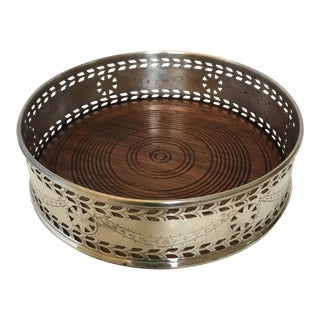 Silverplate & Wood Wine Coaster