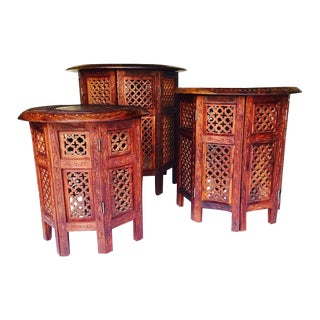 Moroccan Teak Carved Brass Inlay Tea Tables - Set of 3