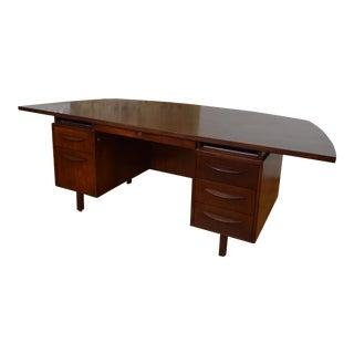 Elegantly Modern Mid Century Demilune Desk in the Style of Jens Risom