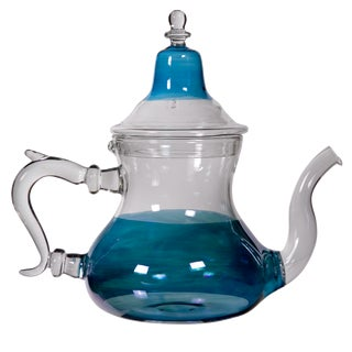 Moroccan Blue Glass Teapot
