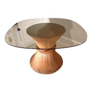 Vintage Ratan Base Glass Dining Table
