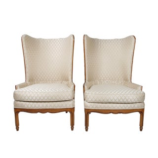 Grosfeld-Style 1950s Wingback Club Chairs - A Pair
