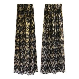 Gold & Black Damask Drapes - A Pair