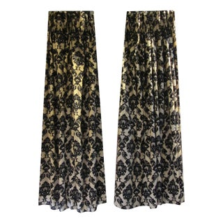 Gold & Black Damask Drapes - A Pair