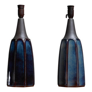 Pair of ceramic table lamps for Soholm, Denmark, 1960s