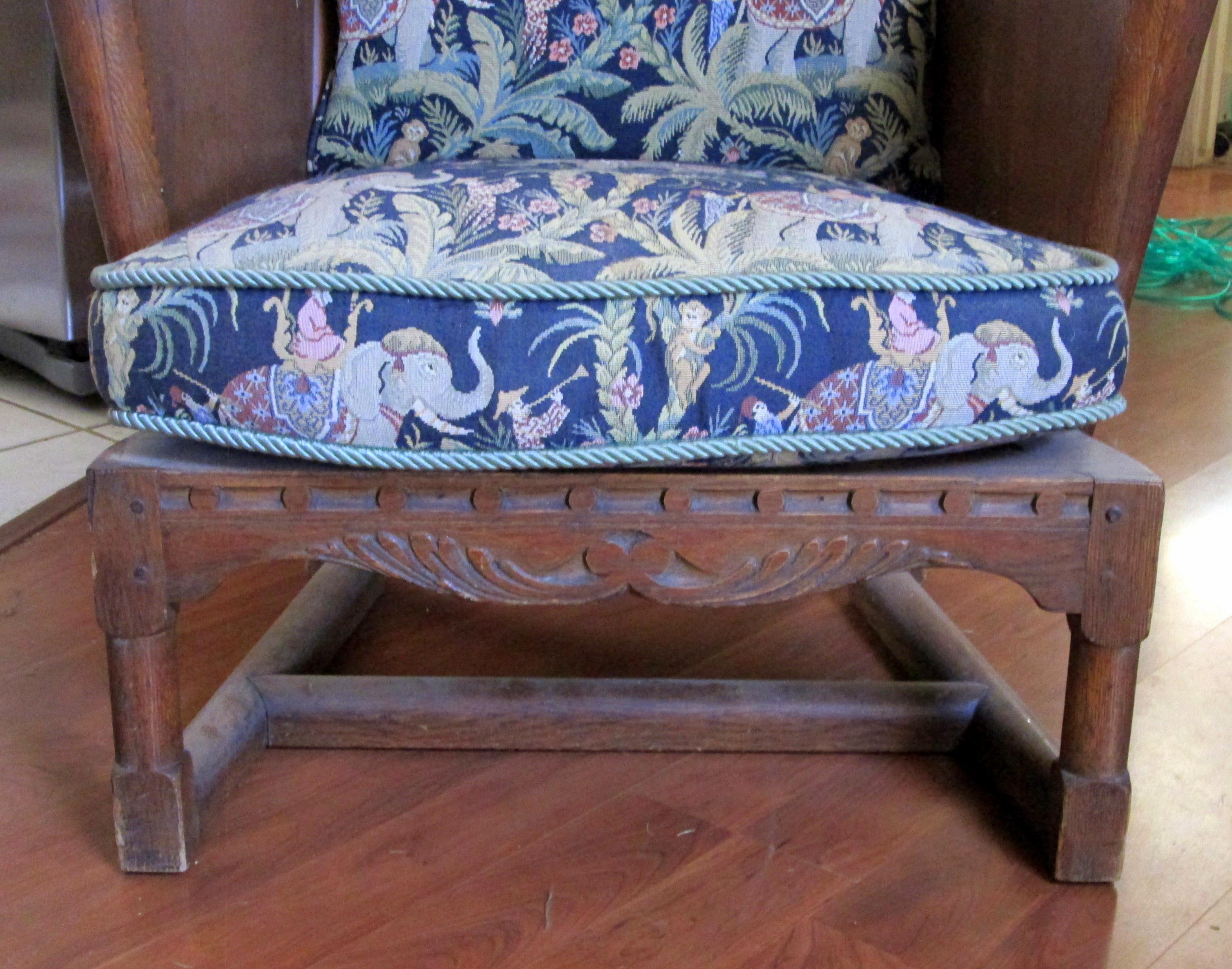 antique ornate carved wooden wingback chair w monkey u0026 elephant upholstered cushions image 3