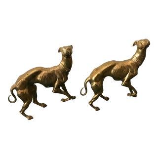 Greyhound Brass Dogs Figures - A Pair