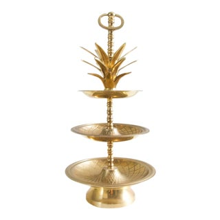 Vintage Tiered Brass Pineapple Display Serving Tray