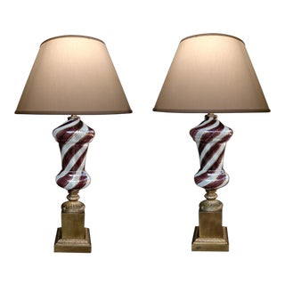 A Striking Pair of Italian Mid-Century 'Dino Martens' for Areliano Tosso Mezza Filigrana Lamps with Gold Aventurine Stripes