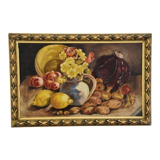French 1930s Fruit & Floral Tablescape Oil Painting