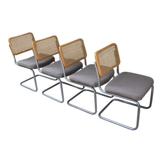 Marcel Breuer Style Cantilever Chrome & Rattan Chairs - Set of 4