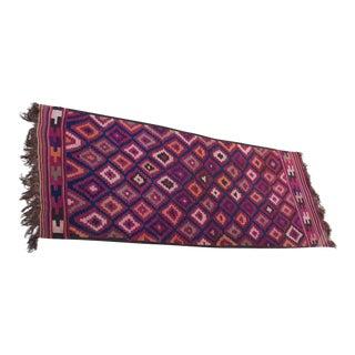 Purple - Salmon Colors Vintage Handmade Kilim Rug - 5'10'' X 13'6''