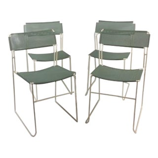 Vintage Mesh Patio Chairs - Set of 4