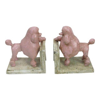 Pink Cast Iron Poodle Bookends - A Pair