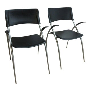 Calligaris Leather Atomic Floating Arm Chairs - A Pair