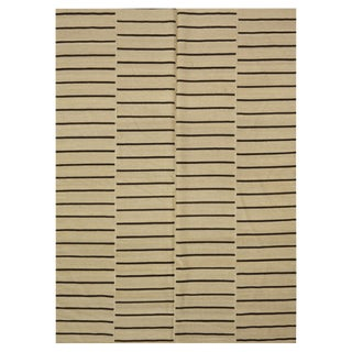 Brown & Ivory Indian Kilim - 5′7″ × 8′1″