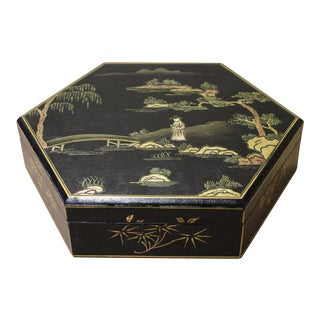 Hand Painted Chinese Black Lacquer Golden Scenery Hexagon Box