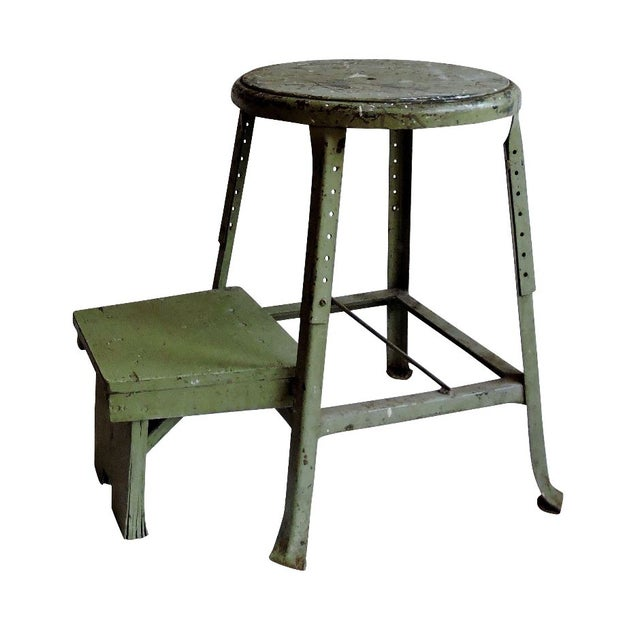 Industrial Sage Green Step Stool - Image 1 of 6