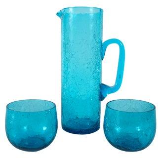 Vintage Crackle Glass Drink Set