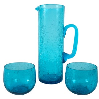 Vintage Crackle Glass Drink Set
